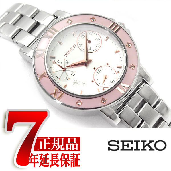 【SEIKO WIRED f】セイコー ワイアードエフ トーキョー ガール ミックス TOKYO GIRL MIX クオーツ レディース 腕時計 ホワイト ピンクベゼル AGET402
