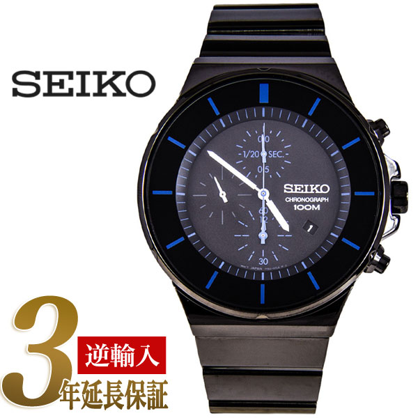 Seiko Chronograph Mens Watch Black Blue Dial Black Stainless Steel Belt Sndd59p1