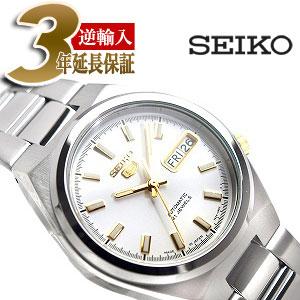 【日本製逆輸入SEIKO5】セイコー5 メンズ 自動巻き 腕時計 ホワイトダイアル シルバーステンレスベルト SNKC47J1