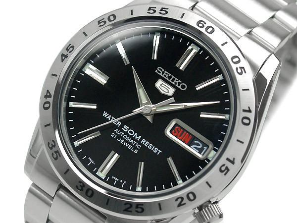 【逆輸入SEIKO5】セイコー5 セイコーファイブ 自動巻き メンズ腕時計 ブラックダイアル シルバーステンレスベルト SNKE01K1