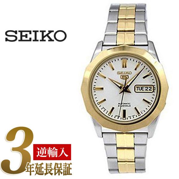 【日本製逆輸入SEIKO5 DRESS】セイコー5 セイコーファイブ ドレス 12角形ベゼル 自動巻き メンズ腕時計 ホワイトダイアル ツートンメタルベルト SNKG84J1