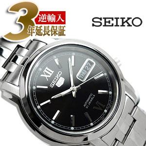 【逆輸入SEIKO5】セイコー5 メンズ自動巻き腕時計 ブラックダイアル シルバーステンレスベルト SNKK81K1