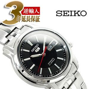 【逆輸入SEIKO5】セイコー5 メンズ自動巻き腕時計 ブラックダイアル ステンレスベルト SNKL83K1
