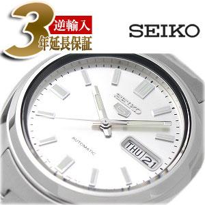 【逆輸入SEIKO5】セイコー5 メンズ自動巻き腕時計 シルバーダイアル シルバーステンレスベルト SNXS73K