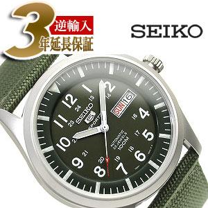 【逆輸入SEIKO5】セイコー5 メンズ自動巻き腕時計 マットシルバーケース グリーンダイアル グリーンメッシュベルト SNZG09K1