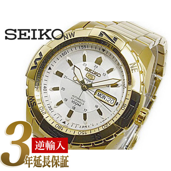 29f6b1ab9 Seiko 5 sports mens Automatic Watch Gold white silver dial IP gold  stainless steel belt SNZJ12J1 ...