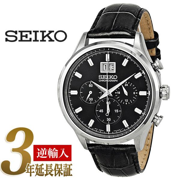 【逆輸入SEIKO】セイコー クロノグラフ メンズ腕時計 ブラック×シルバーダイアル グレー レザーベルト SPC083P2