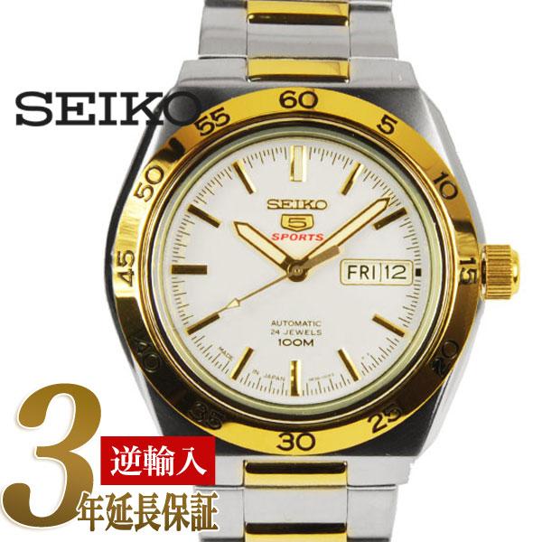 beee8857b 5 SEIKO sports men self-winding watch watch gold bezel white dial silver X  gold ...