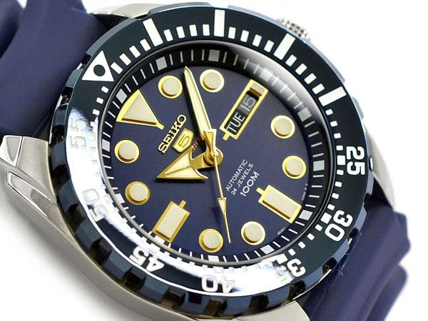 【逆輸入SEIKO 5 SPORTS】セイコー5 スポーツ 自動巻き 手巻き付き機械式 メンズ 腕時計 ネイビー ウレタンベルト SRP605K2