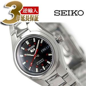【逆輸入SEIKO5】セイコー 5 自動巻 手巻式 レディース 腕時計 ブラックダイアル メタルベルト SYMC27K1