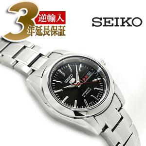 【逆輸入SEIKO 5】セイコー5 自動巻き+手巻き レディース腕時計 ブラックダイアル シルバーステンレスベルト SYMK17K1
