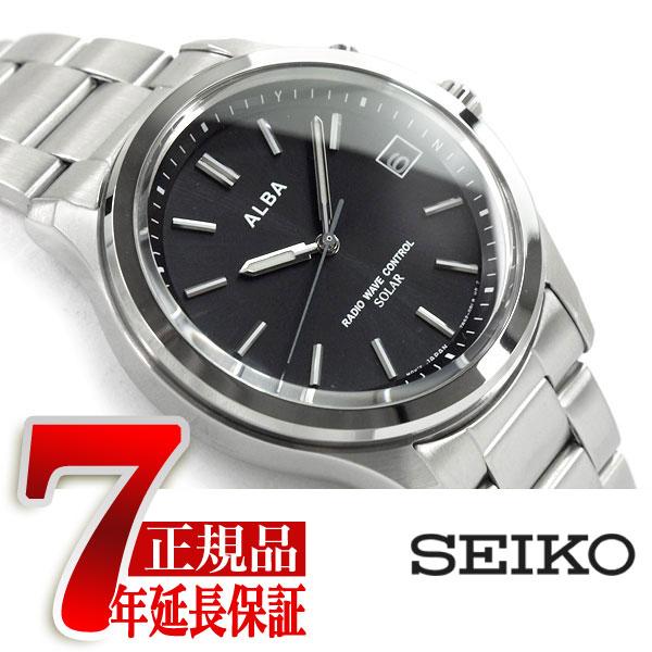 【SEIKO ALBA】セイコー アルバ ソーラー 電波 メンズ 腕時計 10気圧防水 電波時計 ブラック AEFY502