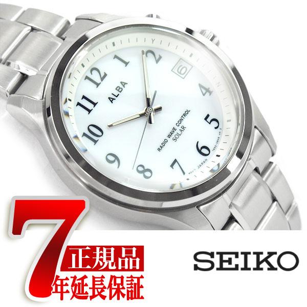 【正規品】セイコー アルバ SEIKO ALBA ソーラー 電波 メンズ 腕時計 10気圧防水 電波時計 ホワイト AEFY503