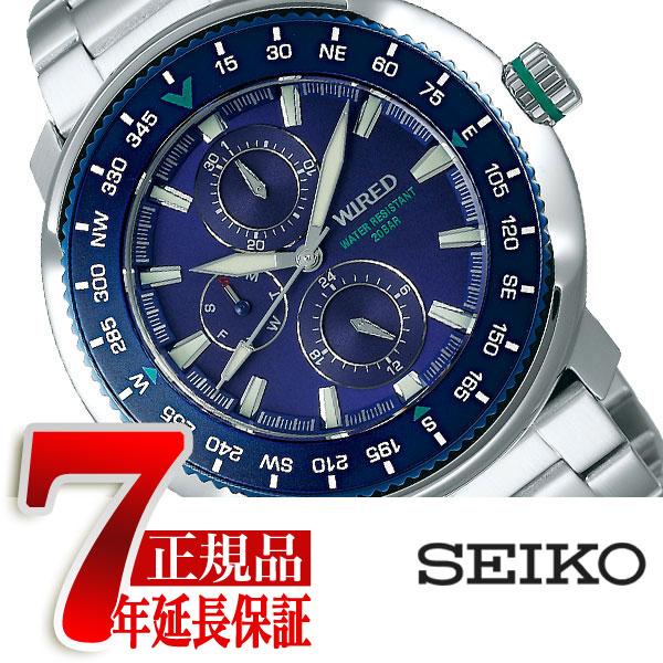 【SEIKO WIRED】セイコー ワイアード クオーツ 腕時計 メンズ ソリディティ SOLIDITY ブルー AGAT416