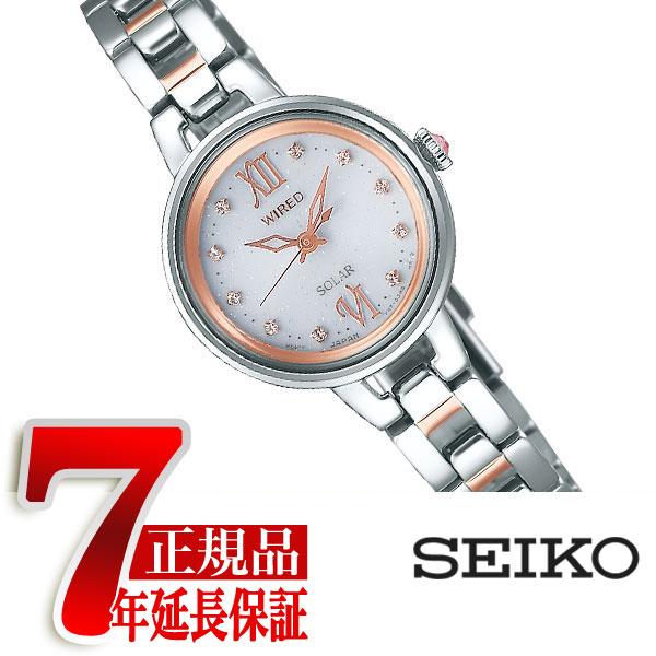【SEIKO WIREDf】セイコー ワイアードエフ ソーラー 腕時計 レディース ペアスタイル シルバー×ピンクゴールド AGED091