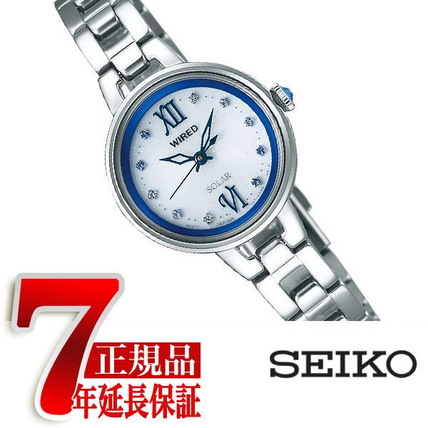 【正規品】セイコー ワイアードエフ SEIKO WIRED f ソーラー 腕時計 レディース ペアスタイル シルバー×ブルー AGED092