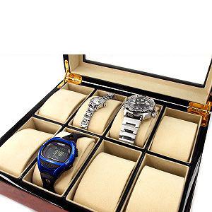 ジョルジオフェリーニ Georgio Fellini 腕時計ケース ボックス型 ウッド調 木目 ガラス板 8本収納 ブラウン ブラック B242