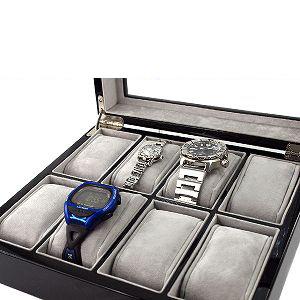 腕時計 収納 ケース ボックス 箱 ウッド調 木目 ブラック 人気商品 Fellini 腕時計ケース 大特価!!  Georgio ジョルジオフェリーニ 8本収納 B244 ボックス型 ガラス板