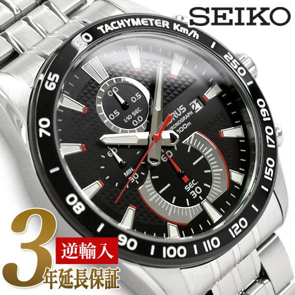 【逆輸入SEIKO LORUS】セイコー ローラス クォーツ メンズ 高速クロノグラフ 腕時計 ブラックダイアル ステンレスベルト RM381DX9【あす楽】