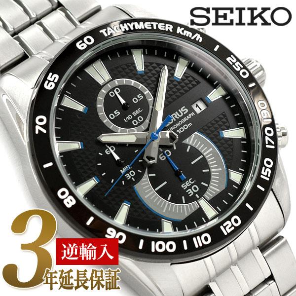 【逆輸入SEIKO LORUS】セイコー ローラス クォーツ メンズ 高速クロノグラフ 腕時計 ブラックダイアル ステンレスベルト RM383DX9【あす楽】