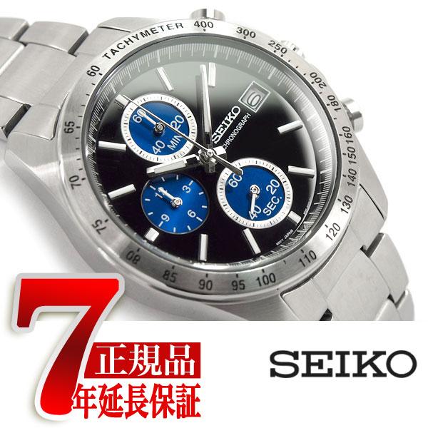 【SEIKO SPIRIT】セイコー スピリット クオーツ クロノグラフ 腕時計 メンズ ブラック×ブルー SBTR003