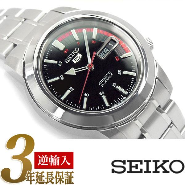 【逆輸入 SEIKO5】セイコー5 日本製 機械式自動巻き メンズ 腕時計 ブラックダイアル ステンレスベルト SNKK31J1