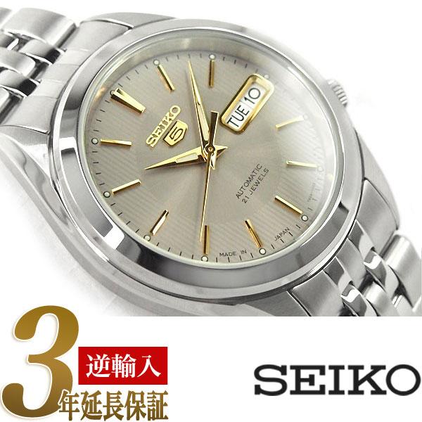 【逆輸入 SEIKO5】セイコー5 セイコーファイブ 機械式自動巻き メンズ 腕時計 グレー×ゴールドダイアル ステンレスベルト SNKL19J1