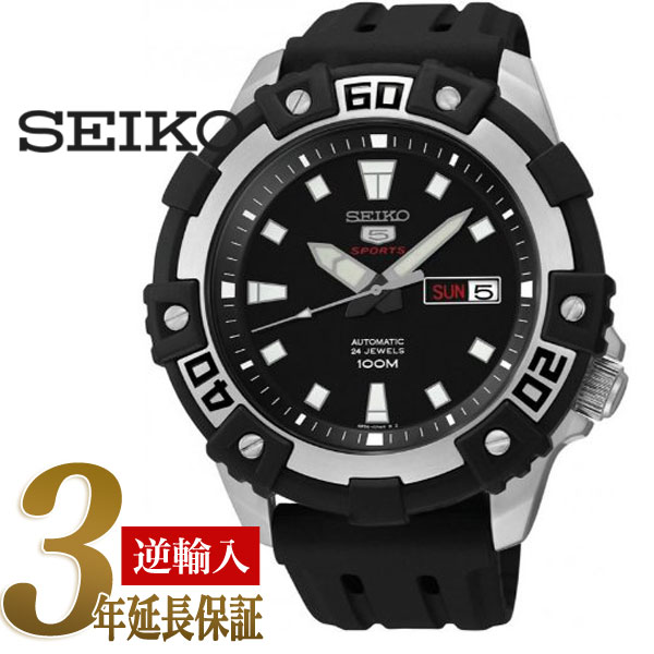 eceb004e3 5 SEIKO sports men self-winding watch type watch black dial black urethane  belt SRP475K1 ...