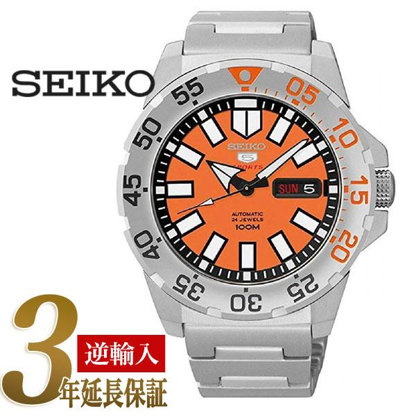 7381e26f5 5 SEIKO sports men self-winding watch type watch orange dial stainless  steel belt SRP483K1 ...