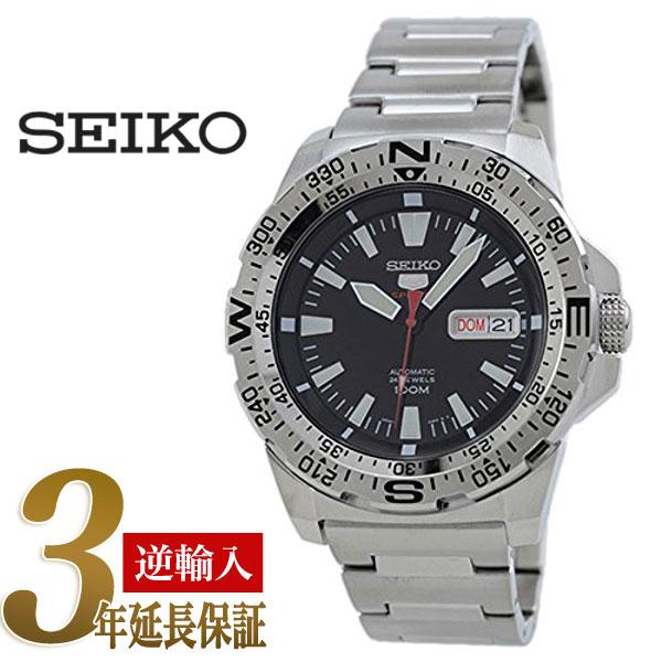 5a2b22225 5 SEIKO sports men self-winding watch type watch black dial silver  stainless steel belt ...