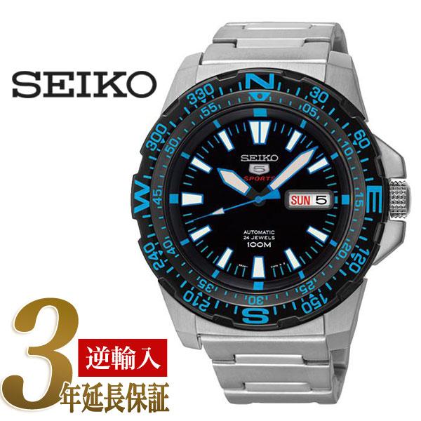 2afd015e2 5 SEIKO sports men self-winding watch type watch black bezel black X blue  dial ...