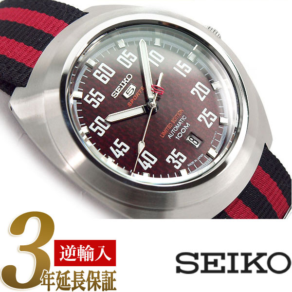 【逆輸入SEIKO5 SPORTS】日本製 セイコーファイブスポーツ 限定品 自動巻き手巻付 メンズ腕時計 レッド×ブラック ナイロンベルト SRPA87J1