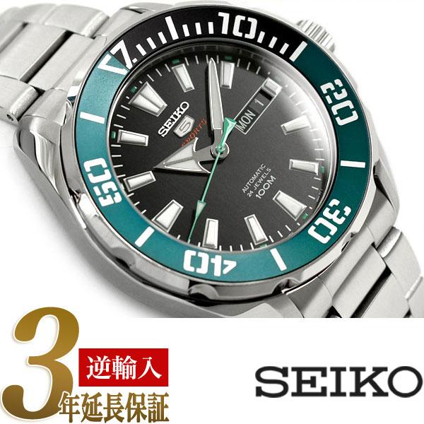【逆輸入 SEIKO5 SPORTS】 セイコー5スポーツ メンズ 自動巻き機械式 腕時計 ブラックダイアル ステンレスベルト SRPC53K1