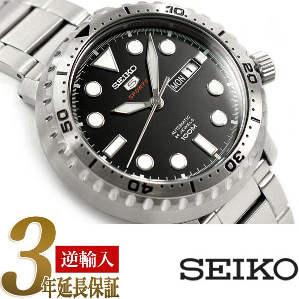 【逆輸入 SEIKO5 SPORTS】 セイコー5スポーツ メンズ 自動巻き機械式 腕時計 ブラックダイアル ステンレスベルト SRPC61K1