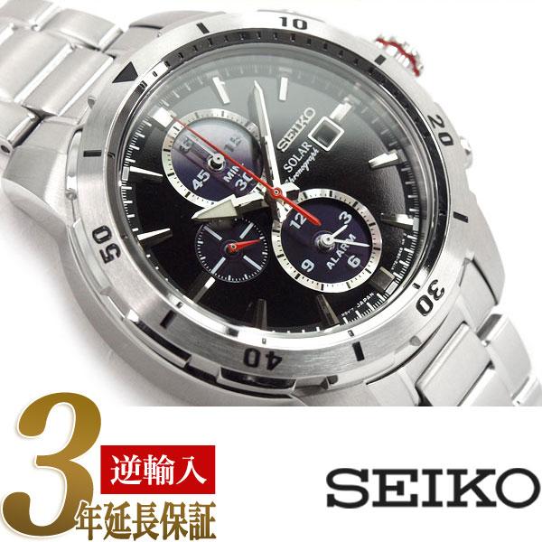 【逆輸入SEIKO】セイコー ソーラー クロノグラフ メンズ 腕時計 ブラックダイアル ステンレスベルト SSC557P1