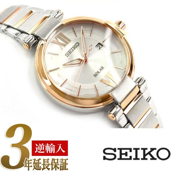 【逆輸入 SEIKO】セイコー ソーラー レディース 腕時計 ホワイトシェルダイアル シルバー×ピンクゴールド ステンレスベルト SUT156P1