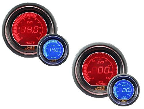 オートゲージ 電圧計 ブースト計 2点セット 2連メーター B 52mm 52Φ 512 デジタルLCDディスプレイ ブルー/レッド 送料無料 512BO52 512VO52