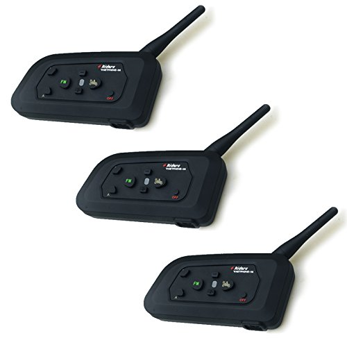 【ポイント10倍】3台セット 4人同時通話可能 バイク用インカム Bluetooth 1000m [ブルートゥース バイクインカム バイク インカム トランシーバー 無線 ワイヤレス ツーリング 通話] 送料無料 A05C