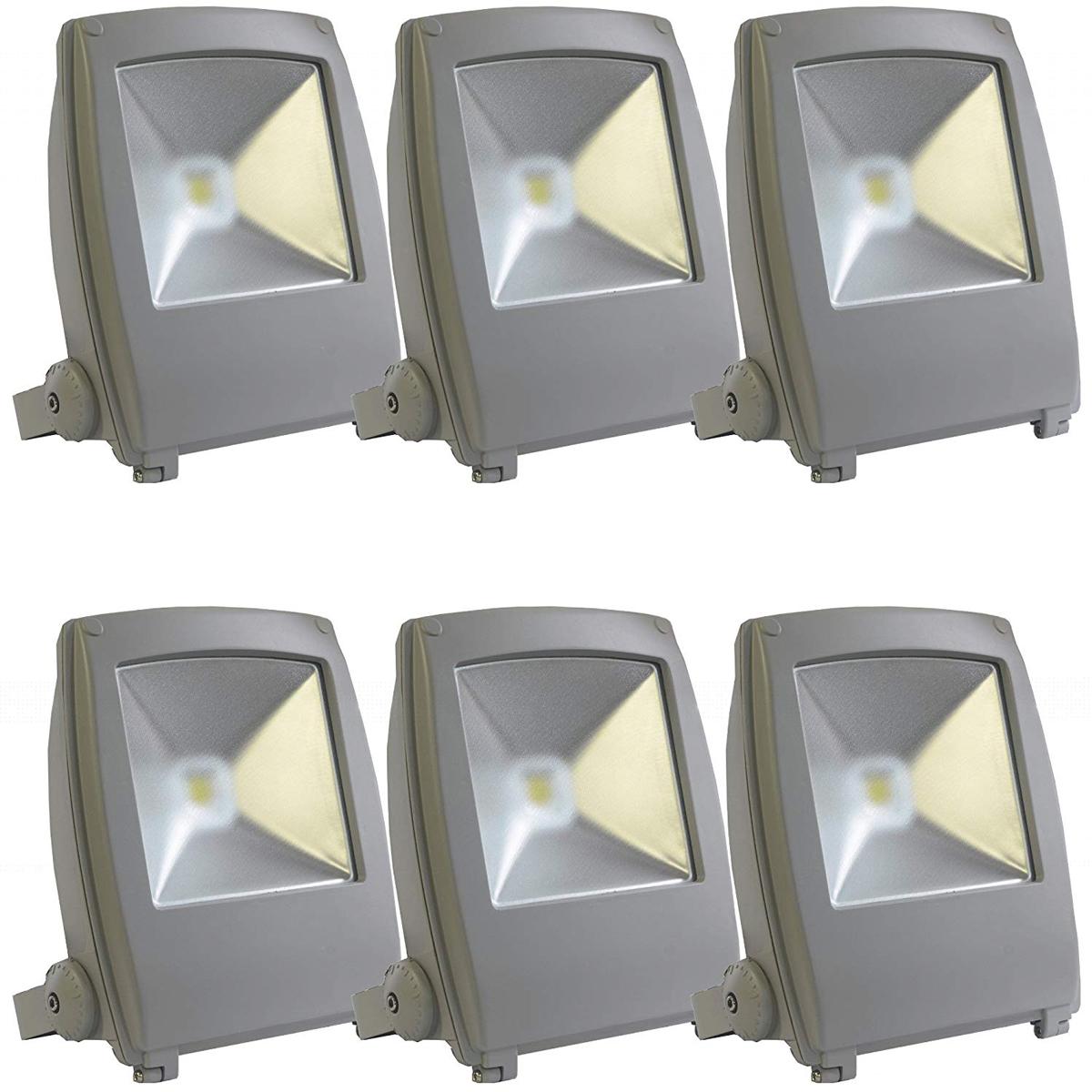 【6個セット】LED投光器 50W 500W相当 フラットタイプ 昼光色 作業灯 集魚灯 防犯 送料無料 A42Y50BSET6
