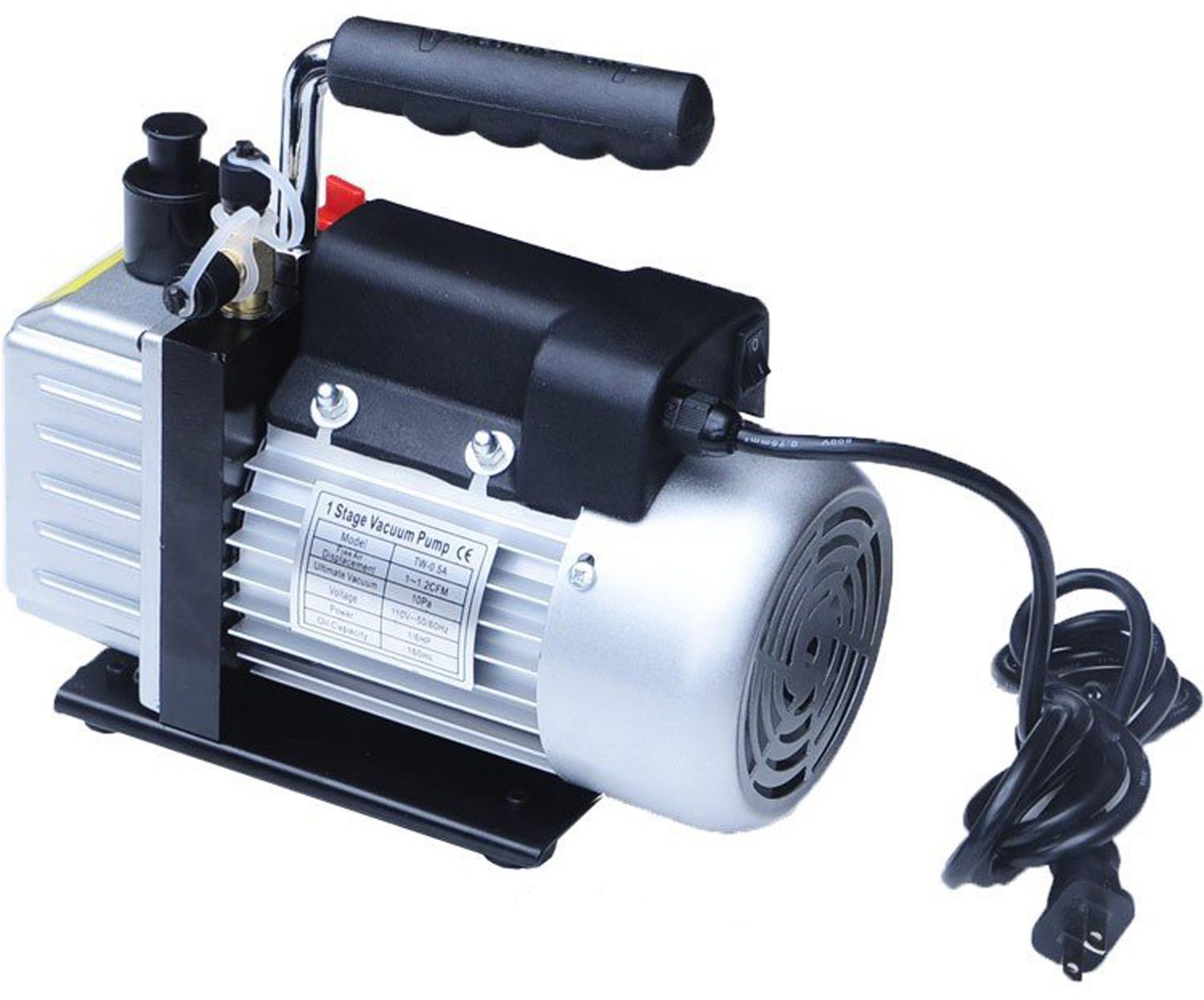 電動真空ポンプ 小型 シングルステージ 家庭用エアコン、 カーエアコン メンテに大活躍[真空 ポンプ 電動 車 カーエアコン ルームエアコン ガス 充填 修理] 送料無料 A68N10