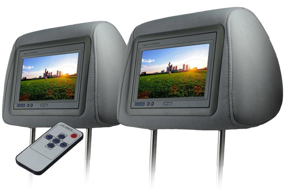 ヘッドレストモニター 7インチ 左右セット 800×480pix WVGA LCD 高画質 LED液晶 液晶モニター LEDバックライト モケット グレー オート電源 セーブ機能 ヘッドレスト カーモニター リアモニター 汎用 送料無料 CARHM7MGRSET2