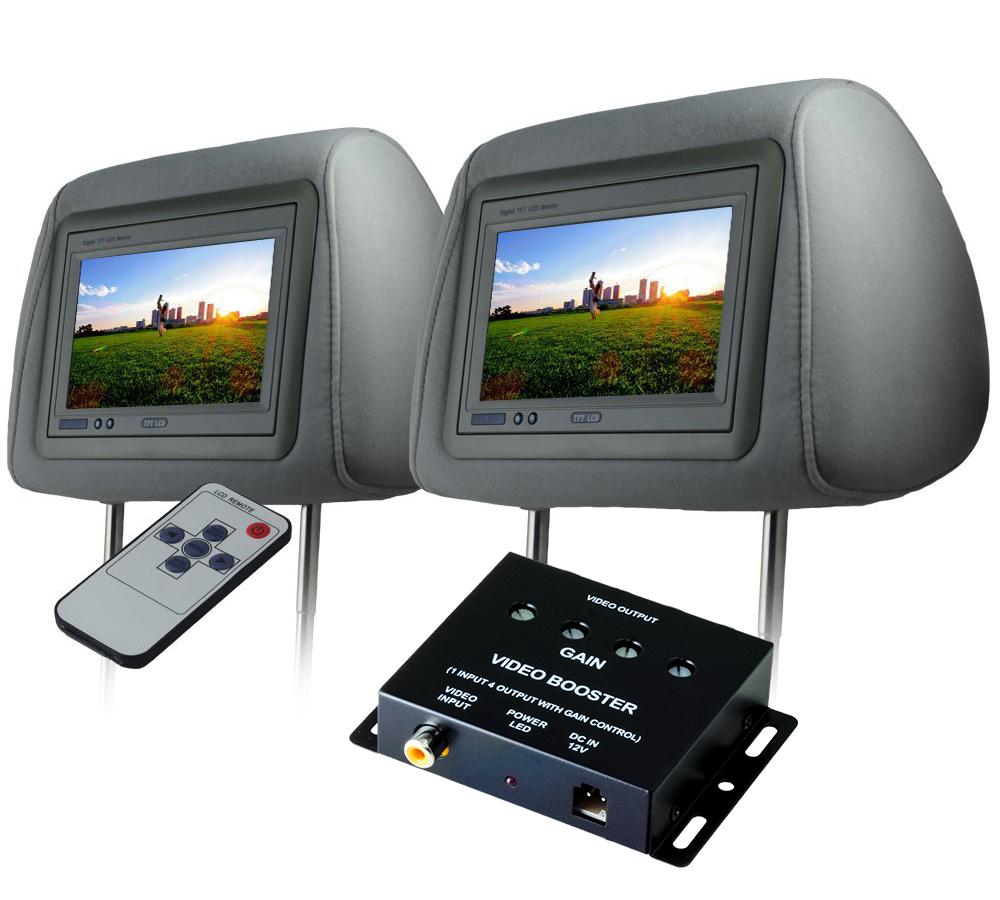ヘッドレストモニター 7インチ 左右 ビデオブースター 4ポートセット 800×480pix WVGA LCD 高画質 LED液晶 液晶モニター LEDバックライト モケット グレー オート電源 セーブ機能 分配器 映像分配器 12V用 リアモニター 汎用 送料無料 CARHM7MGRSET2CARVB4CH