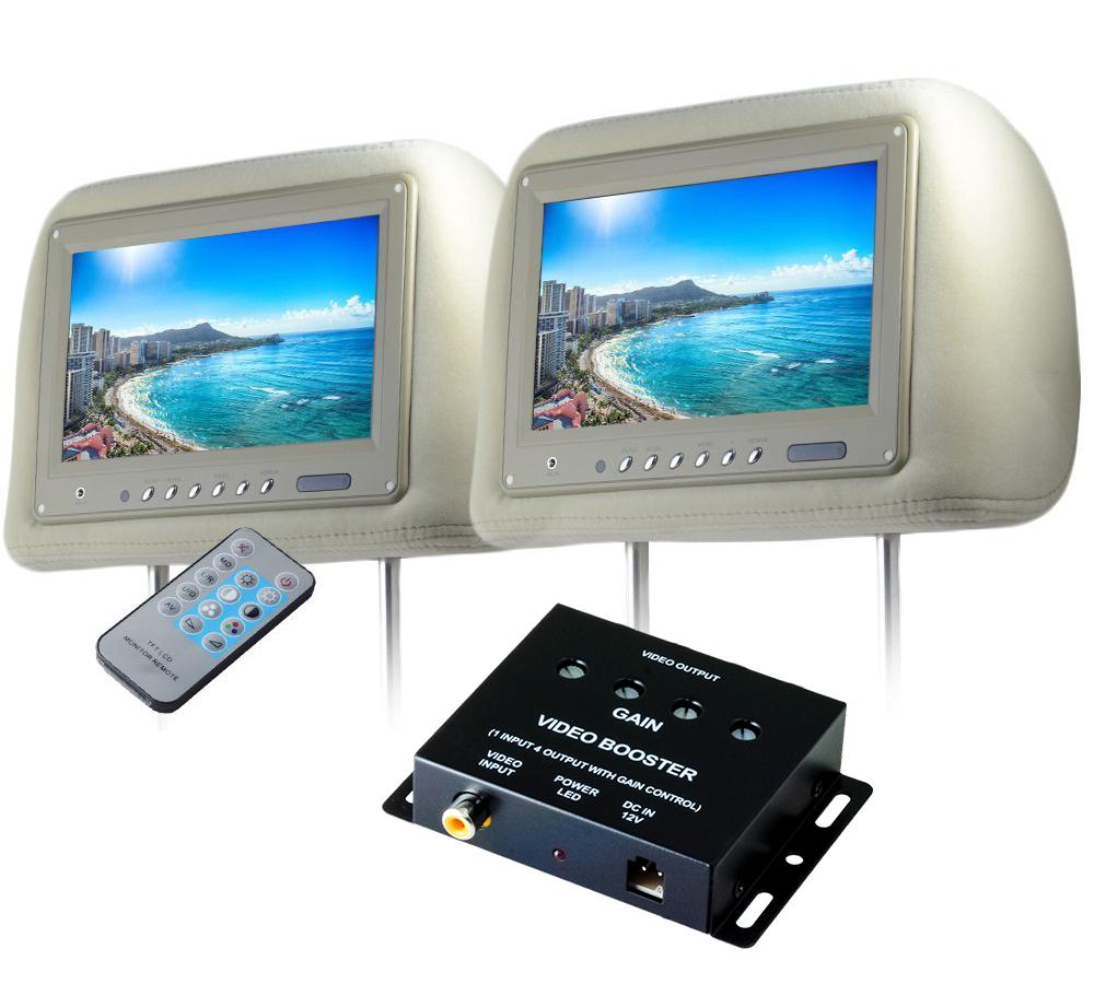 ヘッドレストモニター 9インチ 左右 ビデオブースター 4ポートセット 800×480pix WVGA LCD 高画質 LED液晶 液晶モニター LEDバックライト モケット ベージュ オート電源 セーブ機能 分配器 映像分配器 12V用 リアモニター 汎用 送料無料 CARHM9MBESET2CARVB4CH