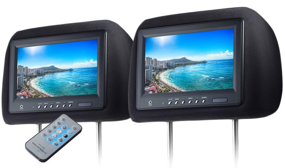ヘッドレストモニター 9インチ 左右セット 800×480pix WVGA LCD 高画質 LED液晶 液晶モニター LEDバックライト モケット ブラック オート電源 セーブ機能 ヘッドレスト カーモニター リアモニター 汎用 送料無料 CARHM9MBKSET2