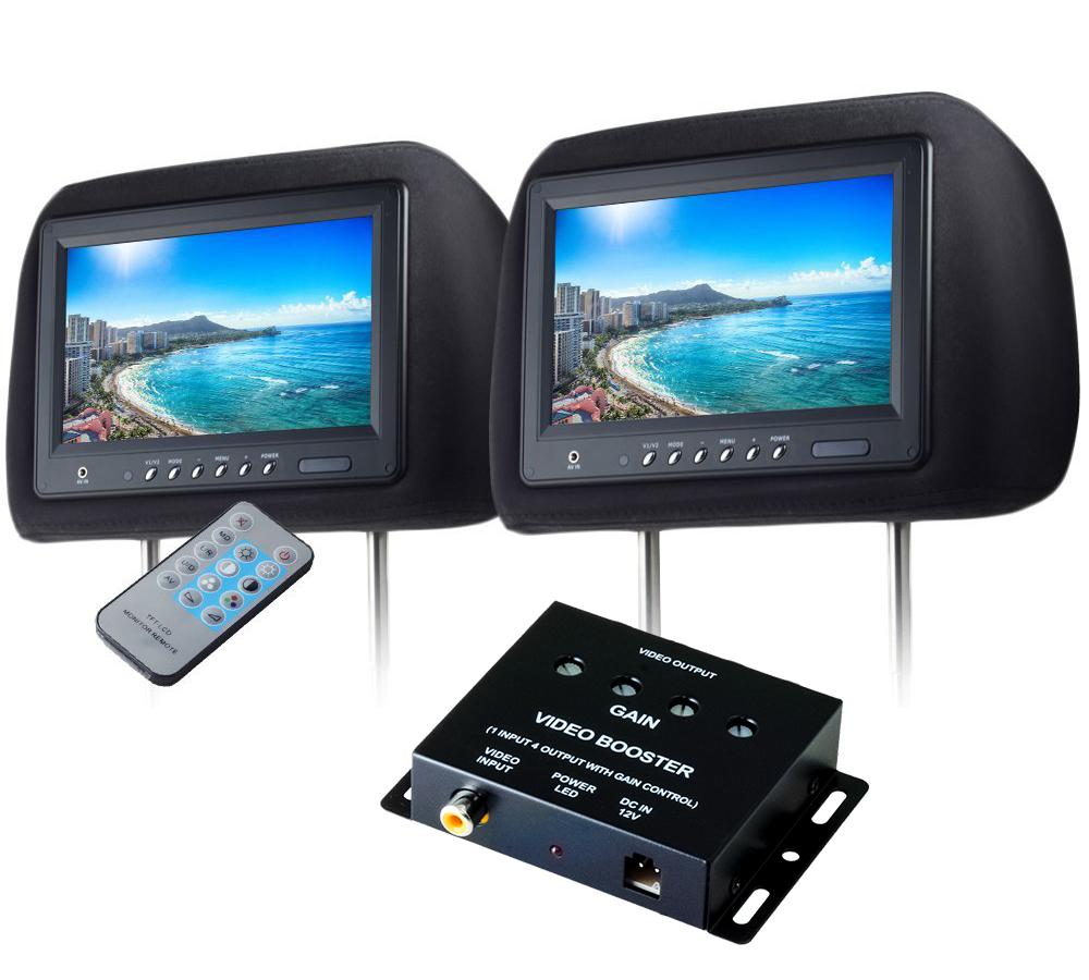 ヘッドレストモニター 9インチ 左右 ビデオブースター 4ポートセット 800×480pix WVGA LCD 高画質 LED液晶 液晶モニター LEDバックライト モケット ブラック オート電源 セーブ機能 分配器 映像分配器 12V用 リアモニター 汎用 送料無料 CARHM9MBKSET2CARVB4CH
