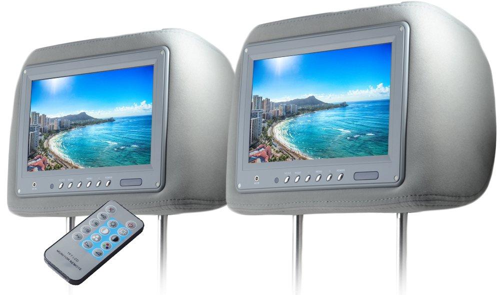 ヘッドレストモニター 9インチ 左右セット 800×480pix WVGA LCD 高画質 LED液晶 液晶モニター LEDバックライト モケット グレー オート電源 セーブ機能 ヘッドレスト カーモニター リアモニター 汎用 送料無料 CARHM9MGRSET2