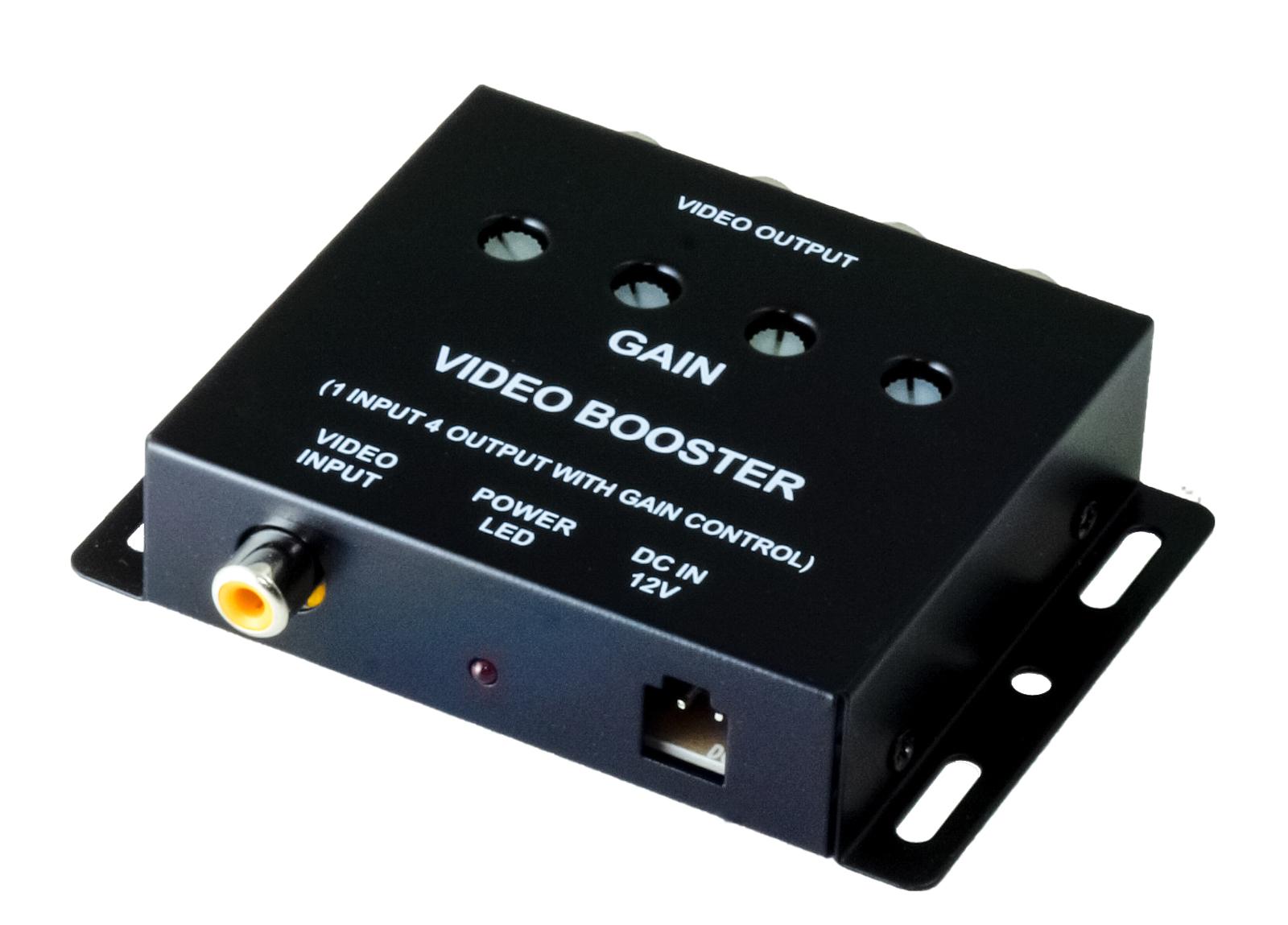ビデオブースター 4ポート 分配器 映像分配器 最大4台のモニターに出力可能!サンバイザーモニター・フリップダウンモニター等の増設に! ビデオブースター 4ポート 分配器 映像分配器 12V用 モニター増設用 4ch 対応車種多数 自動車 車 車載 4チャンネル 分岐 ヘッドレスモニター サンバイザーモニター 送料無料 CARVB4CH