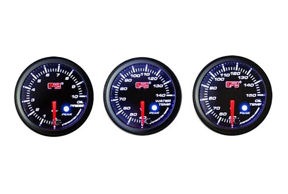 オートゲージ 3点セット 3連メーター 油温計 油圧計 水温計 オートゲージ 52Φ 追加メーター PK ワーニング機能・ピーク機能付き付【電子式】 スモークレンズ 52mm ホワイト アンバーLED led AutoGauge 送料無料 52PKOPB 52PKOTB 52PKWTB