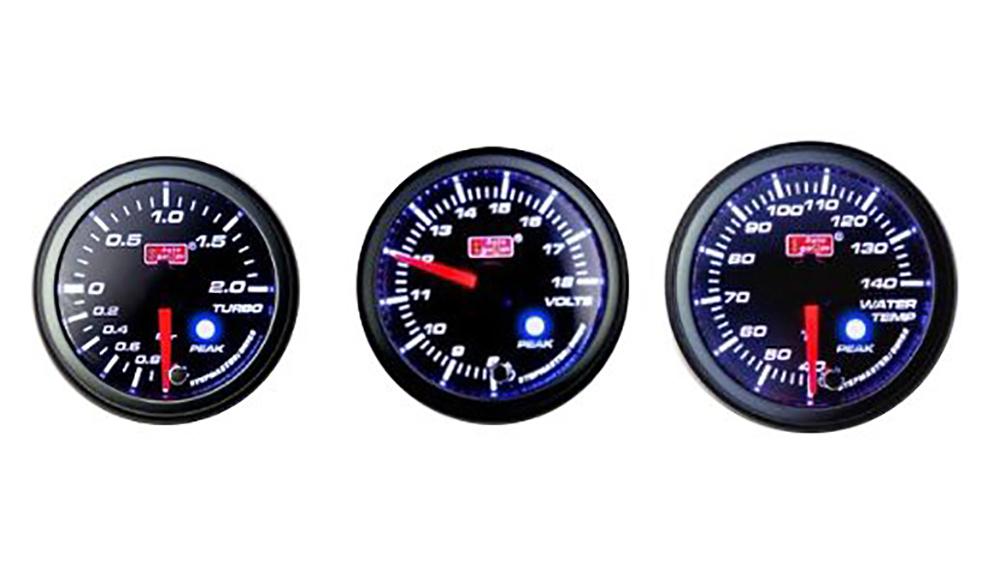 オートゲージ 3点セット 3連メーター 油温計 油圧計 ブースト計 オートゲージ 52Φ 追加メーター PK ワーニング機能・ピーク機能付き付【電子式】 スモークレンズ 52mm ホワイト アンバーLED led AutoGauge 送料無料 52PKBOB 52PKOPB 52PKOTB