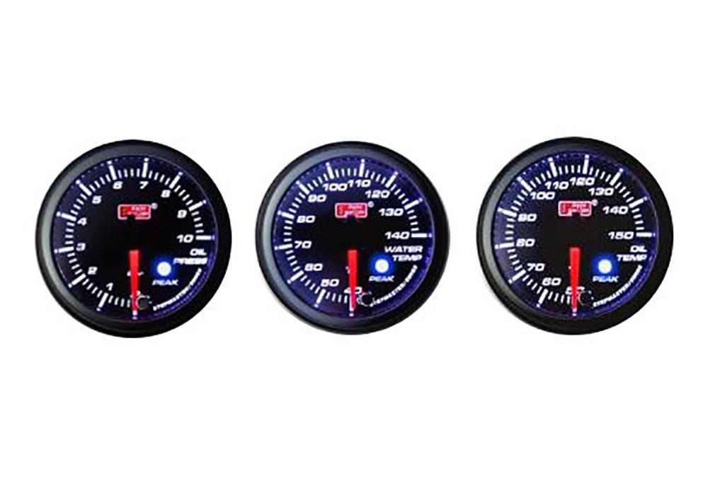 オートゲージ 3点セット 3連メーター 油温計 油圧計 水温計 オートゲージ 60Φ 追加メーター PK ワーニング機能・ピーク機能付き付【電子式】 スモークレンズ 60mm ホワイト アンバーLED led AutoGauge 送料無料 60PKOPB 60PKOTB 60PKWTB